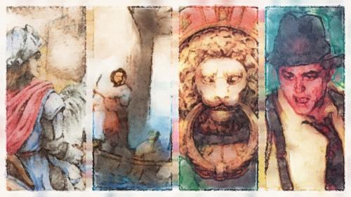 Details der Titelbilder von Ulm, Deadline, Carcassonne, Castles of Tuscany